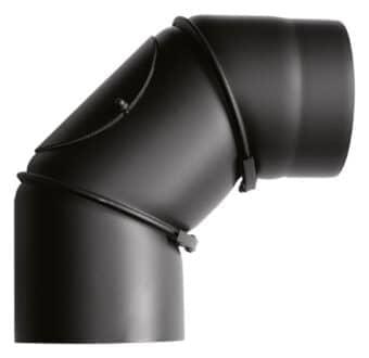 Rauchrohrbogen 0° - 90° drehbar, schwarz