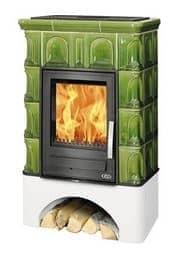 Kaminofen ABX Britania - Kachel Moosgrün, Sockel Weiß