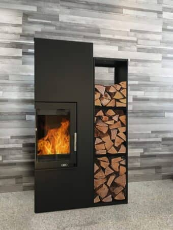 Kaminbausatz ABX Fulvia - Stahl Schwarz mit Holzlege