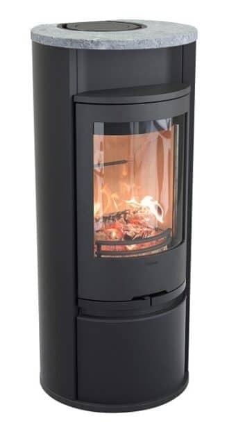 Kaminofen Contura 610 Style - Korpus schwarz, Specksteinabdeckung und Warmhaltefach